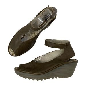 Fly London Yala Dark Brown Leather Peep Toe Ankle Strap Wedges EU 40 US 9